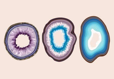 Vector set of blue and violet geode slices