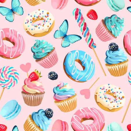 Patrón transparente de vector con cupcakes y donas