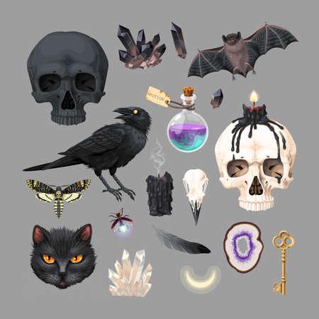 Vector high detailed black magic supplies set