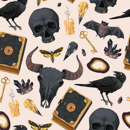 Seamless pattern with raven and magic book Ilustracje wektorowe