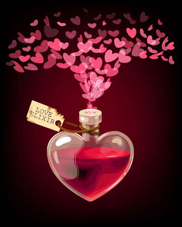 Vector Valentines Day card with love elixir