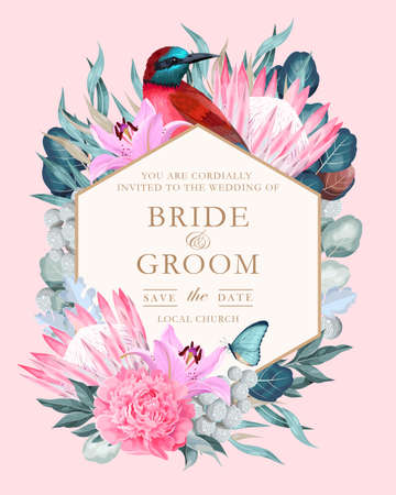 Vector vintage card with flowers and bird Illustration