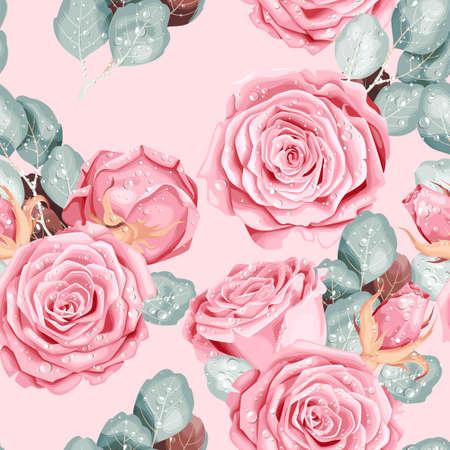 Vintage vector seamless pattern with pink roses Ilustração