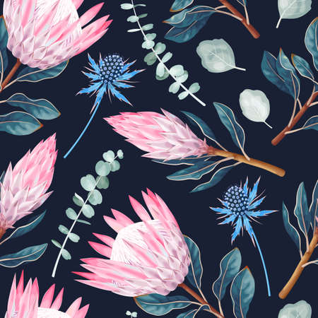 Vector seamless pattern with protea and greenery Vettoriali