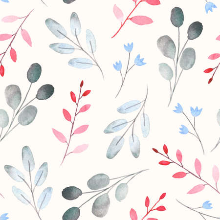 Seamless pattern with watercolor leaf and branch Ilustração
