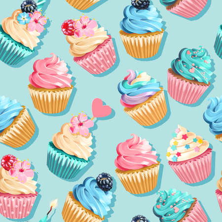 Vector seamless pink and blue cupcake pattern