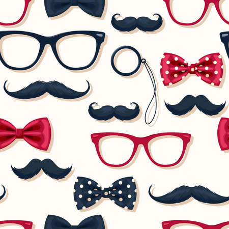 Seamless pattern with moustache in retro style