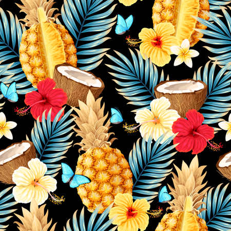 Seamless vector pattern with fruits and flowers 版權商用圖片 - 157562903