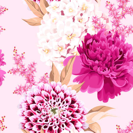 Vector seamless pattern with pink vintage flowers