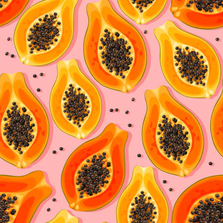 seamless vector pattern with high detailed papaya on pink background