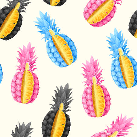 Vector seamless pattern with high detailed pineapple