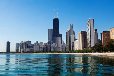 Chicago skyline view from North Avenue Beach along Lake Shore Drive.