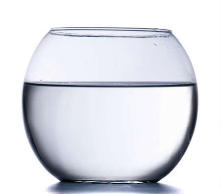 Empty round aquarium isolated on white background