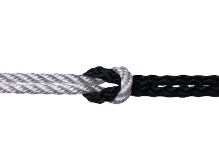 bonding rope: Black and white ropes connection into knot isolated on white background
