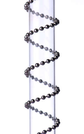 concatenation: Chain spiral over glass cylinder isolated on white background