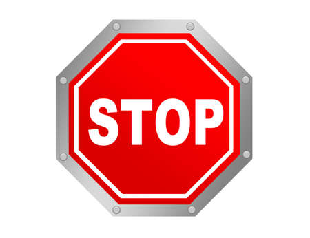 red and white stop symbol  with metallic edge photo