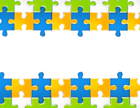 orange, white, blue and green puzzles on white background Stock Photo - 9622833