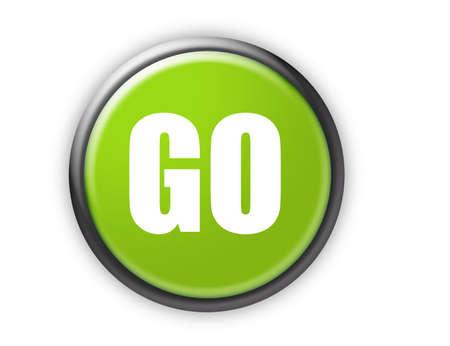 go green button with metallic edge over white background Stock Photo - 9622783