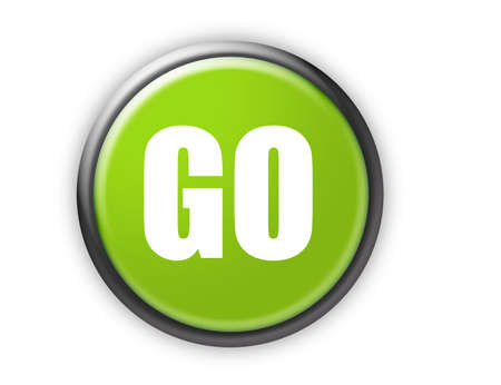 to go: go green button with metallic edge over white background Stock Photo