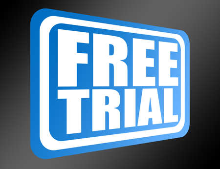free trial: blue sign free trial over black background.illustration Stock Photo