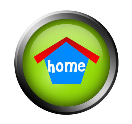 green home button with metallic edge over white background photo