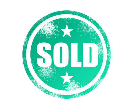green and white label sold seal ia a circle over white background Stock Photo - 9622820