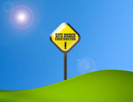 overhaul: under construction sign over green and blue background