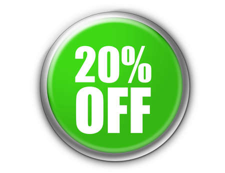 green discount button with metallic edge over white background photo