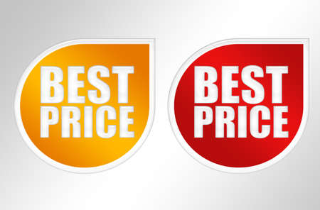 price reduction: orange and red labels best price over gray background