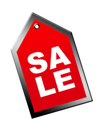 red label sale with gray edge over white background Stock Photo - 9622806