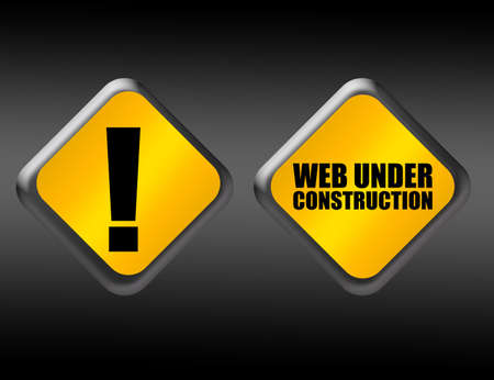 yellow and black web under construction sign over black background photo