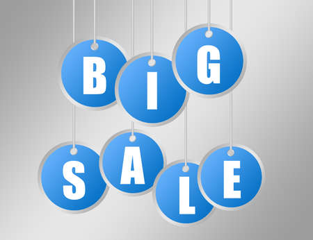 blue and white labels big sale over gray background photo