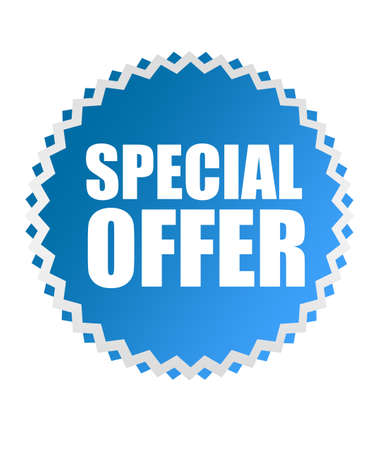 best offer: blue special offer tag over white background.illustration