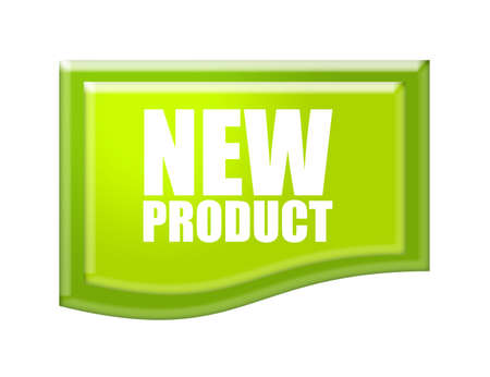 product icon: green new product icon with green edge over white background