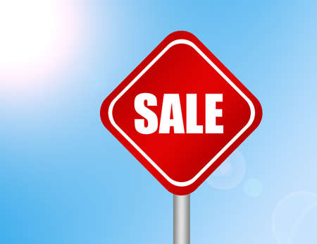 red and white icon sale over blue background photo
