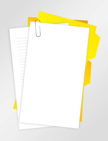 white paper blank with paper clip over gray background photo