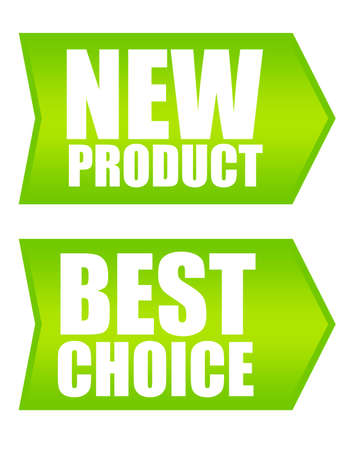 green labels new product and best choice over white background photo