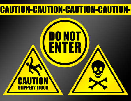 yellow and black caution signs over black background.illustration illustration