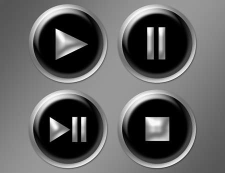 black buttons with silver edge over gray background Stock Photo - 9622997