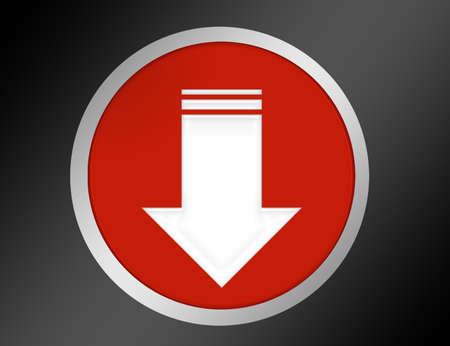red download button with gray edge over black and gray background photo