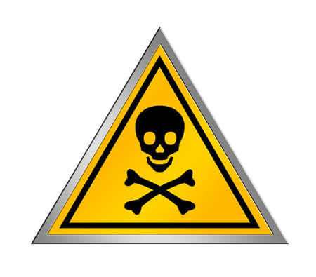 electricity danger of death: yellow and black danger sign over white background Stock Photo