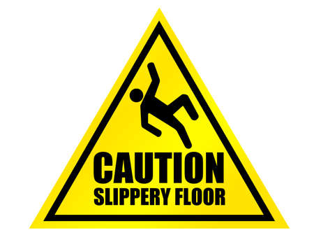slips: yellow and black caution slippery floor sign over white background
