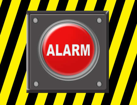 red, gray, yellow, black alarm button  illustration over yellow and black background illustration