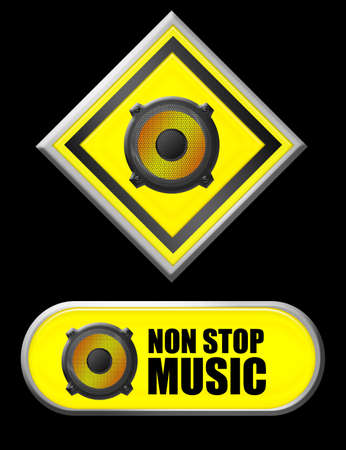 yellow speaker non stop music signs over black background photo