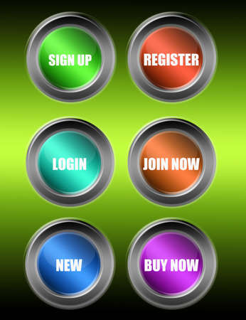 colored buttons web over green background Stock Photo - 9709510