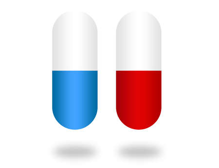red, blue and white pills isolated with gray shadow over white background photo