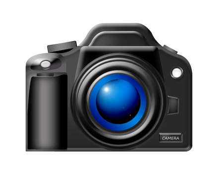 black camera with blue lens over white background.illustration Stock Illustration - 9709477