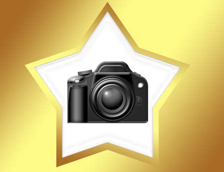 black camera with white star and  gold edge over gold background Stock Photo - 9709484