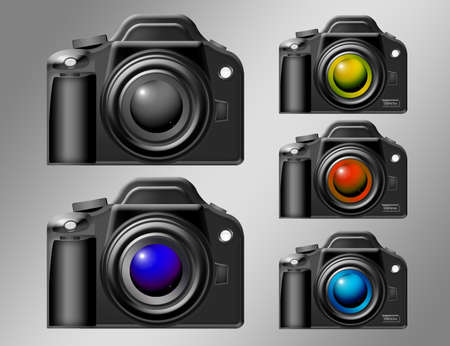 black color cameras with different lens color over gray background Stock Photo - 9709509