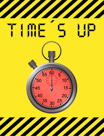 metallic timer over yellow background and yellow and black lines edge photo